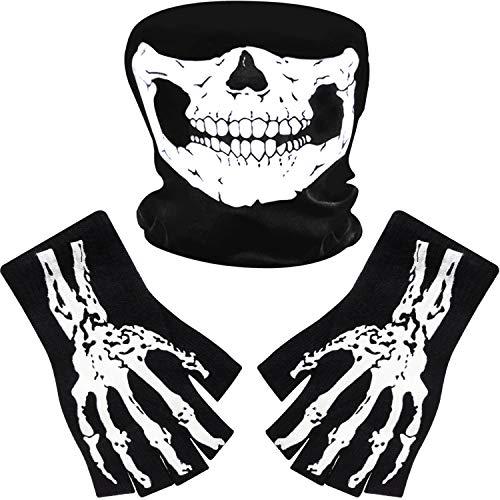Tatuo Guantes de Esqueleto Blancos y Máscara de Calavera Disfraz...