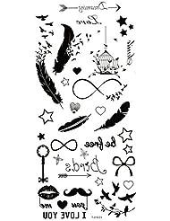 Spestyle imperméables et non toxiques plumes, les oiseaux, les étoiles, clés, barbes, birdcage temporaires autocollants de tatouage