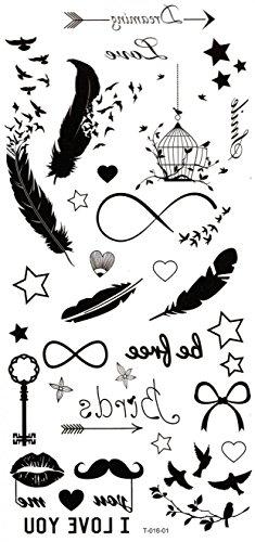 Spestyle - tatuaggi adesivi temporanei impermeabili e non tossici: piume, uccelli, stelle, chiavi, baffi, gabbie