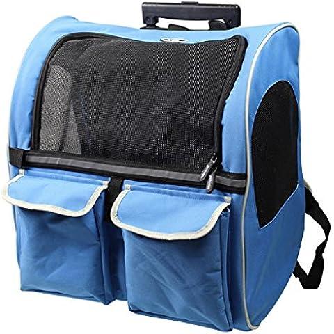 casa Monopoli Pet Bag Trolley / animale doppia cassa del carrello / animale Go Out Zaino Doggy Portable - Blu