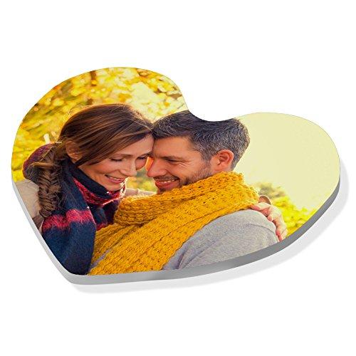 Imán plástico corazón Personalizado Foto Texto