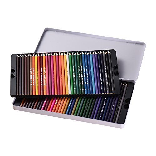 KKmoon 72 Color Premium Pre-sharpened Base de Aceite Lápices de Colores Set con Caja de Metal para Niños Adultos Artista Arte Dibujo Escritura Arte para Colorear Libro