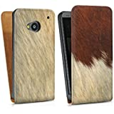 HTC One M7 Tasche Hülle Flip Case Kuhfell Look Tiere Animals