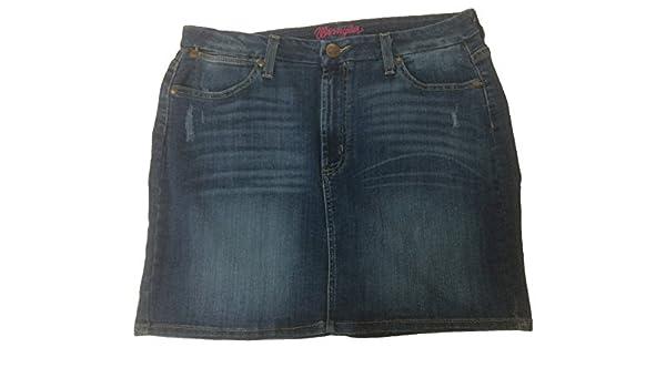 Wrangler Damen Rock Jeansrock W227LK12C Long Skirt Bleached Ripped