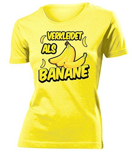 Banane 4916 Kostüm Kleidung Damen T-Shirt Frauen Karneval Fasching Faschingskostüm Karnevalskostüm Paarkostüm Gruppenkostüm Gelb - Damen Bananen Kostüm