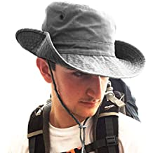 TOSKATOK UPF 50+ Unisex Safari Outback Australian Style Cotton Bush Hat with Wide Brim, Chin Strap, Side Press Studs and Air Vents
