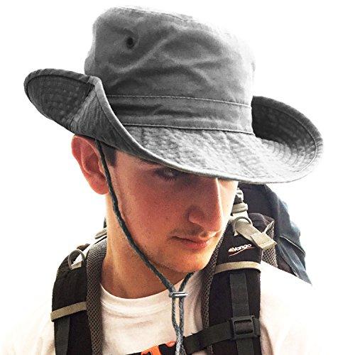 TOSKATOK® UPF 50+ Unisex Safari Outback Australischer Buschhut mit breiter Krempe, Kinnriemen, seitlichen Druckknöpfen und Lüftungsschlitzen, aus Baumwolle-Grey -