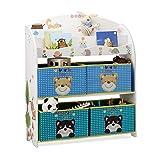 Relaxdays Kinderregal mit Tiermotiven, Aufbewahrungsregal, Bunte Textilschubladen, HxBxT 99 x 87 x 29,5 cm, MDF+Stoff