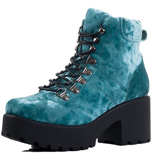 Lace Up Block Heel Ankle Boots Shoes Blue Velvet Style Sz 3 Lace-up Velvet