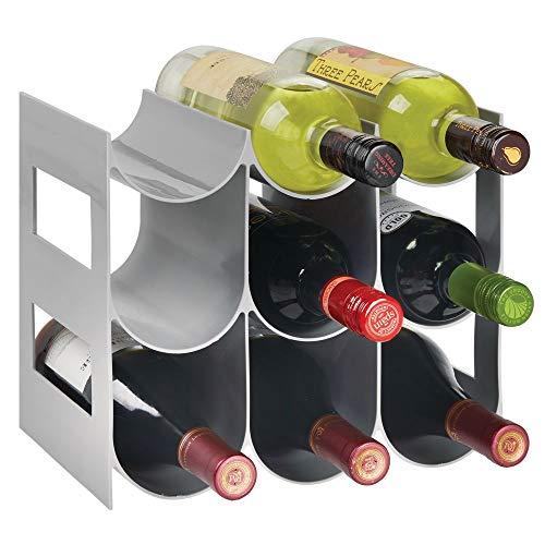 mDesign Práctico estante para botellas de vino - Botelleros para vino y otras bebidas para guardar hasta 9 unidades - Vinoteca de plástico de pie - gris