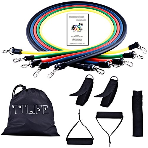 ttlife-exercise-bands-11pcs-yoga-tension-rope-exercise-latex-resistance-bands-tube-workout-gym-yoga-