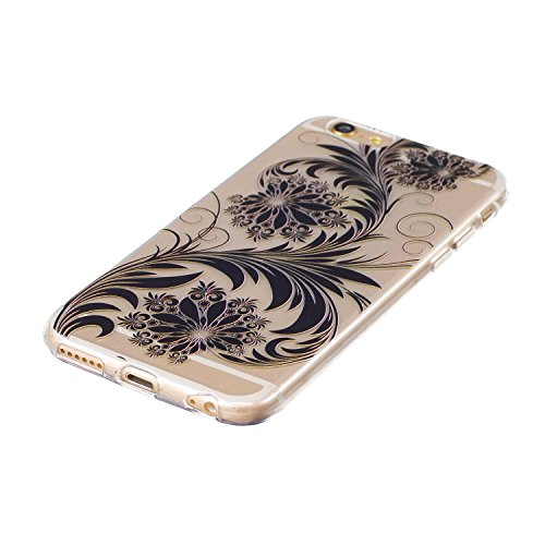 iPhone 6 Coque, iPhone 6S Housse, iPhone 6 6S Etui,BONROY® Motif monochrome classique Ultra-Mince Thin Soft Silicone Etui de Protection pour Souple Gel TPU Bumper Poussiere Resistance Anti-Scratch Cas black Flower