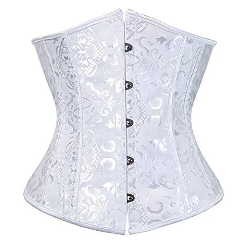 Damen 9427 Unterbrust Jacquard Lace Up Waist Cincher Corsage Bauchweg Top X-Large White