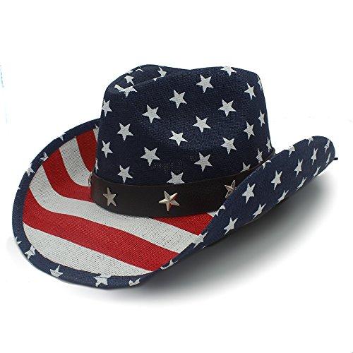 Western Cowboy Hut, 5 Stil Nationalflagge Cowboyhut für Frauen Männer Fedora Hut Sonnenhut (Farbe : 3, Größe : 58-59cm)