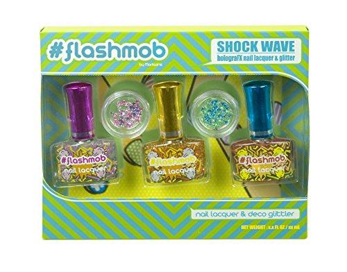 Markwins Flashmob Shock Wave Nagellack-Set mit Glitter-Steinen für ausgefallene Looks, rosa/lila, blau/grün, gelb, 1er Pack (Nagel-sets Für Teenager)