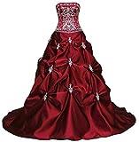 Vantexi Damen Elegante Stickerei Satin A-Linie Hochzeitskleid Brautkleider Burgund Größe 40