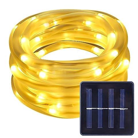 AOFENG Solar Lichterkette, 100 LED Solar Lichterkette Weihnachten, Lichterketten, Garten Außen12m Warmweiß, Solar Beleuchtung Kugel für Party, Weihnachten, Outdoor, Fest Deko usw. (Tube, Warmweiß)