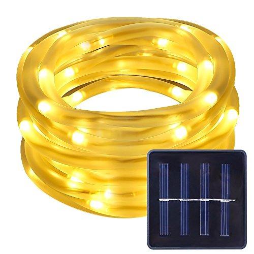 Aufun Solar Lichterkette 100 LED Solar Lichterkette Weihnachten Lichterketten Garten Außen 12m Warmweiß, Solar Beleuchtung Kugel für Party, Weihnachten, Outdoor, Fest Deko usw. (Tube, Warmweiß) (Lichter Solar-outdoor-anteil)