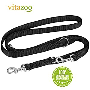 VITAZOO Premium Hundeleine in Graphitschwarz, massiv und verstellbar in 4 Längen (1,1 m - 2,1 m), für große und kräftige Hunde | 2 Jahre Zufriedenheitsgarantie | Hundeführleine, Doppelleine, geflochten