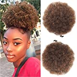 Xtrend Afro Puff Drawstring Ponytail Short Afro Kinky Curly Ponytail for Black Women with 2 Clips in Curly Bun Extensions T30#
