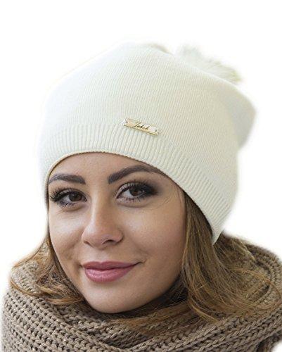 Damen Frauen Strickmütze Beanie mit Fellbommel Herbst Winter Bommelmütze mit großem Kunstfellbommel (ZI) (Ecri)