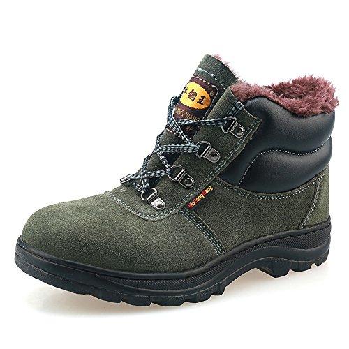 AILU Arbeitsschuhe mit Stahlkappe Sicherheitsstiefel Herren und Damen Warm Gefütterte Work Shoes Grün