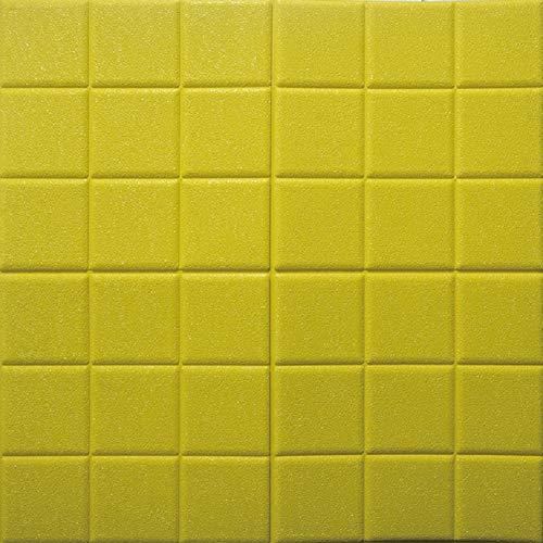 HX stickers 5 pièces 3D Auto-adhésif Autocollants, Mousse Mosaïque Murale Anti-Collision épaississement Panneaux muraux Toile de Fond pour Les Murs TV-Jaune