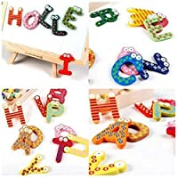 Yidartono 26 Letters Magnetic Letters Words Wooden Cartoon Fridge Magnet,for Literacy & Spelling - Educational Alphabet Refrigerator Magnets - 26pcs/Set Kid Baby Educational Toy