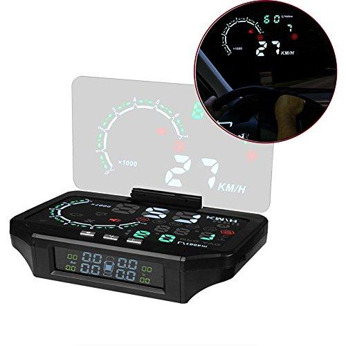 Coomir 2 in 1 HUD auto e monitoraggio della pressione dei pneumatici Head Up Velocità di visualizzazione Avvertenza Strumento Proiettore GPS