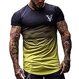 Camisetas Hombre Manga Corta,YanHoo Cuello Redondo de Moda para Hombre Elástico Degradado Color Elíptico Dobladillo Camiseta de Manga Corta Camisa de Hombre Gradiente Cuello Redondo