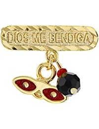 In Season Jewelry - Chapado en Oro 14k Azabache Simulado Broche de Santa Lucia Rojo Protección Contra el Mal de Ojo Unisex