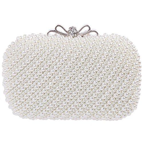 Damen Clutch Abendtasche Handtasche Handgemacht Elegant Zweiseitig Perlen Beaded Party Brauttasche Unterarmtasche von Santimon Beige (Handgemachte Handtasche)