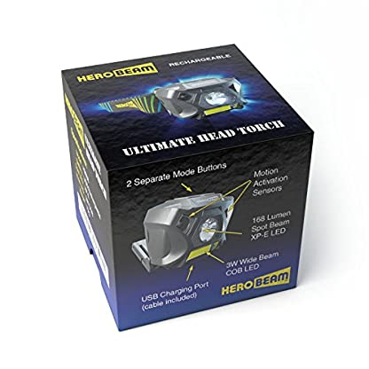 HeroBeam® Ultimate Head Torch – USB Rechargeable Headlamp for Running, Dog Walking, Biking, Camping, Reading, Homecrafts, Cycling or DIY – Hands Free ON/OFF Mode - Lightweight and Weatherproof 6