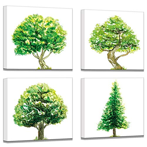 Leinwandbild, Aquarellbaum, einfache Wanddekoration, Bilder auf Leinwand, Badezimmer, Büro, Wanddekoration für Wohnzimmer, grüner Baum, gerahmt, 4-teiliges Wandkunst-Set 35,6 x 35,6 cm (Zum Plastiktüten Verkauf)