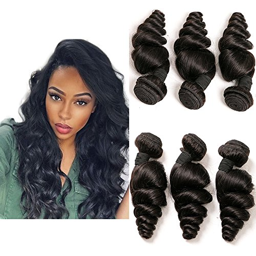 Brazilian Hair 3 Bundles Weave Loose Wave 100 Unprocessed Cheap Natural Virgin Remy Human Hair Extension Weave Weft 8a Total 300g Natural Color 14 16 18 Inches  -