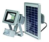 as - Schwabe 46978, 10 W Solar CHIP-LED Akku-Strahler mit Bewegungsmelder, W, Silber