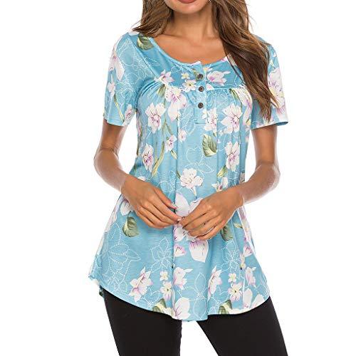 TWIFER Damen Sommer Kurzarm T Shirt Knöpfen Gedruckt Tee Shirts Tops Mit Blumen Bedruckt
