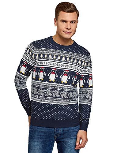 oodji ultra uomo maglione lavorato a maglia con motivi natalizi, blu, it 48 / eu 50 / m