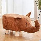 YAOJP Animal Petit Tabouret Bois Massif Pouf Repose Pieds Mode Créatif Banc À Chaussures pour Enfants Supporter Poids 150 Kg,Elephant/Green