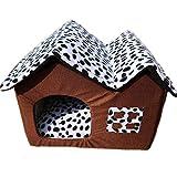 ZJEXJJ Hochwertige Doppelhaustierhaus Kennel mit abnehmbarem Kissen sehr weich warme Hundebett-Zimmer für Welpen klein oder mittel (Farbe : Brown, größe : 55 * 40 * 42CM)