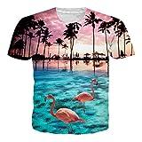 NEWISTAR Jungs 3D Druck Hawaiian Shirt T-Shirt Tees Tops mit Rundhalsausschnitt L
