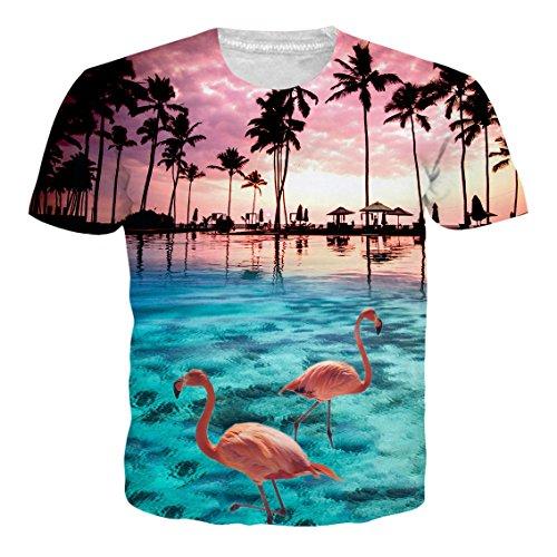 Druck Hawaiian Shirt T-Shirt Tees Tops mit Rundhalsausschnitt XXL (T Shirt Mit Anzug)