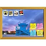 ArtzFolio Miami Beach Florida, USA Printed Bulletin Board Notice Pin Board cum Golden Framed Painting 17.3 x 12inch