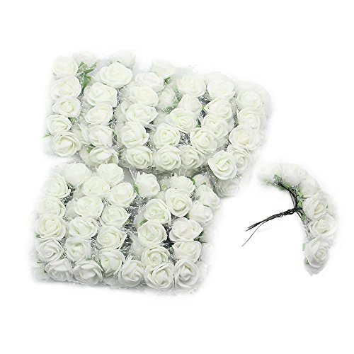 Foam flowers amazon homgaty 144pcs mini foam artificial rose flower with spotted tulle wedding card decoration white mightylinksfo Images