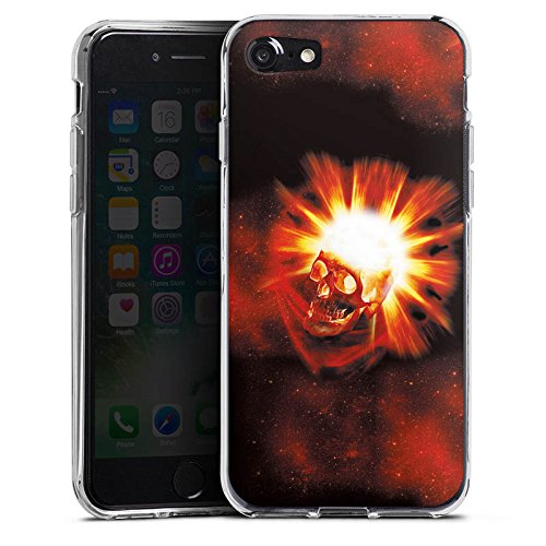 Apple iPhone X Silikon Hülle Case Schutzhülle Totenkopf Schädel Licht Silikon Case transparent