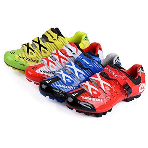SIDEBIKE VTT Cyclisme Chaussures Hommes et Dames Mountainbike Chaussures Vert Jaunâtre