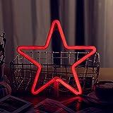 AIZESI Lampe Stern LED Deko Stern Nachtlicht Rot Schlafzimmer Neon Lampe Neuheit LED Wandleuchte Dekor Nacht Lampe Dekoration Schlafzimmer Wohnzimmer(Roter Stern)