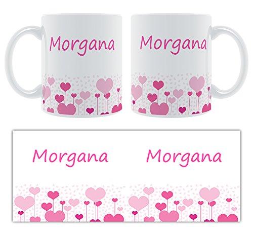 Morgana – Motif cœurs – Femelle Nom personnalisable Mug en céramique