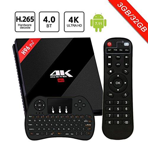 [Android 7.1 3GB+32GB] SINUK H96 Pro plus Smart Internet TV Box mit Amlogic S912 Octa Core CPU, 3GB RAM+32GB ROM mit Fernbedienung und LAN Schnittstelle, unterstützt Wirless WiFi