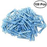 UEETEK 100 stück Kabelverbinder Stoßverbinder Schrumpfverbinder 1,5-2,5mm Wasserdichte Isoliert Kabelschuhe (Blau)